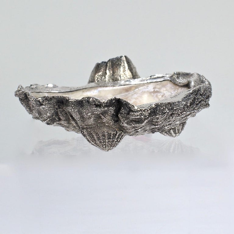 Carl Schon Sterling Silver and Oyster Shell Atlantic Yacht Club Ashtray Trophy For Sale 3
