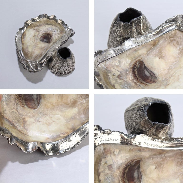 Carl Schon Sterling Silver and Oyster Shell Atlantic Yacht Club Ashtray Trophy For Sale 5