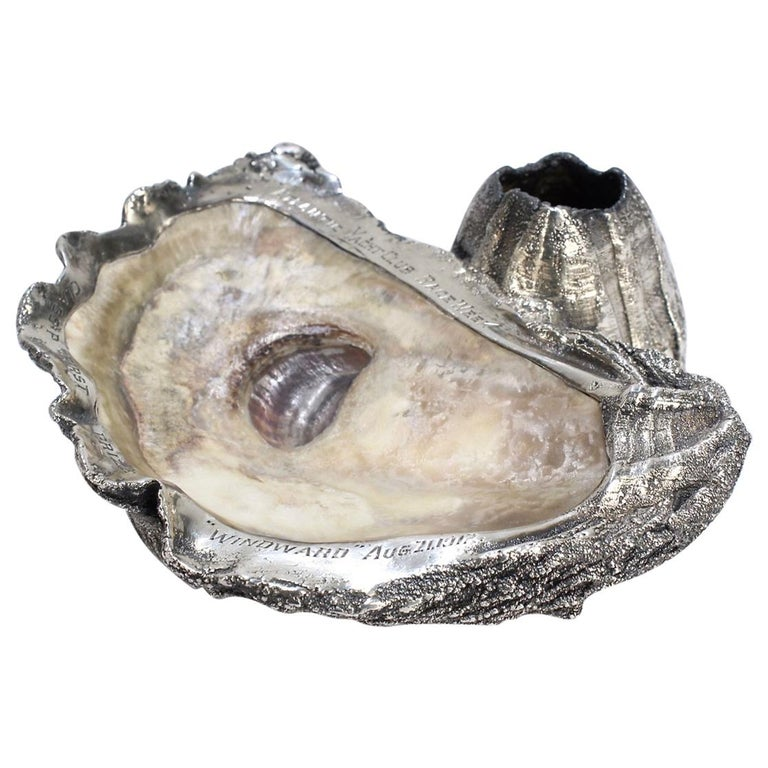 Carl Schon Sterling Silver and Oyster Shell Atlantic Yacht Club Ashtray Trophy For Sale