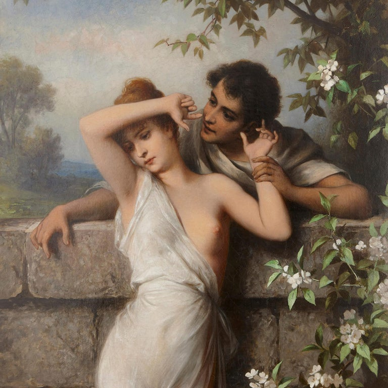 Oil painting of young lovers by Schweninger the Younger  - Rococo Painting by Carl Schweninger the Younger