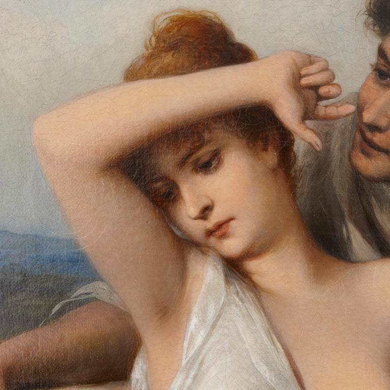 Oil painting of young lovers by Schweninger the Younger  - Brown Figurative Painting by Carl Schweninger the Younger