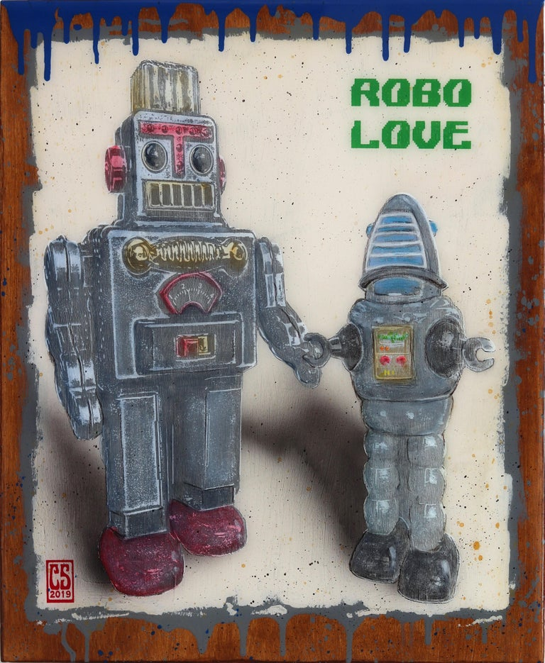 Silver Robo Love - Mixed Media Art by Carl Smith
