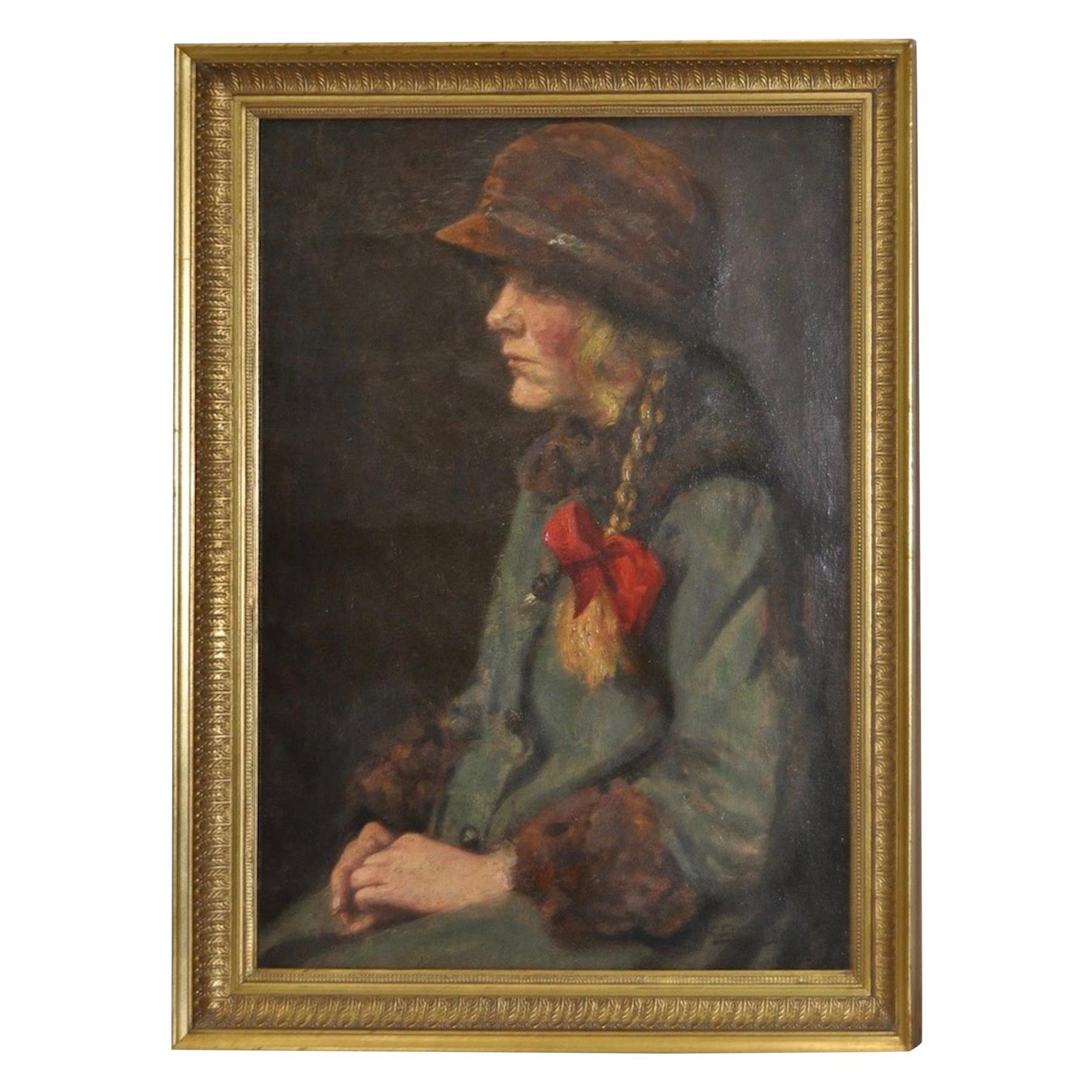 """Carl Stilling """"Dutch Girl"""" Oil on Canvas, circa 1924"""