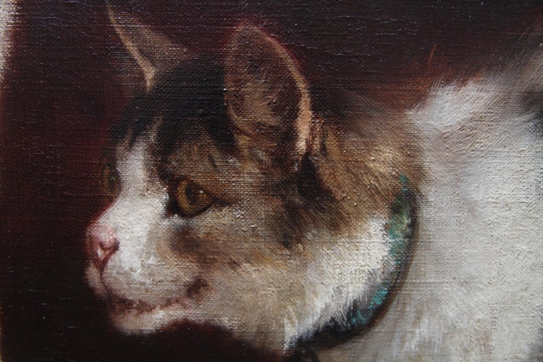 Animal Supper - Victorian 19th century dog cat animal art interior oil painting  For Sale 10