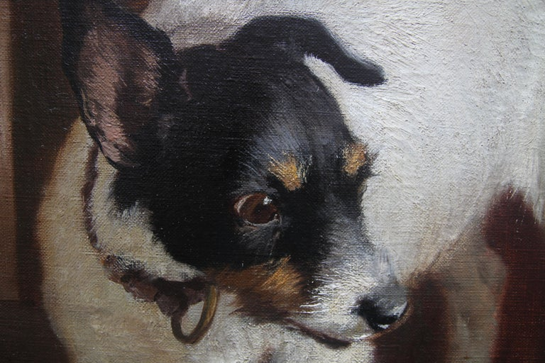 Animal Supper - Victorian 19th century dog cat animal art interior oil painting  For Sale 11