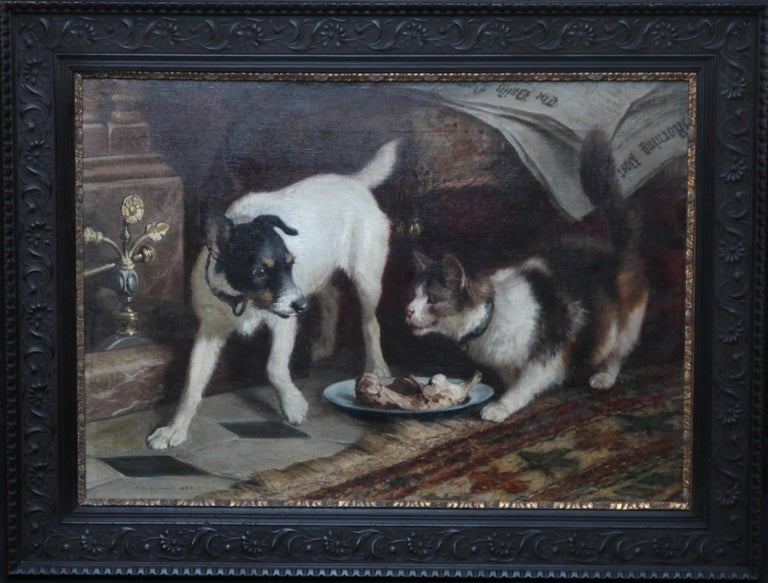Animal Supper - Victorian 19th century dog cat animal art interior oil painting  For Sale 12