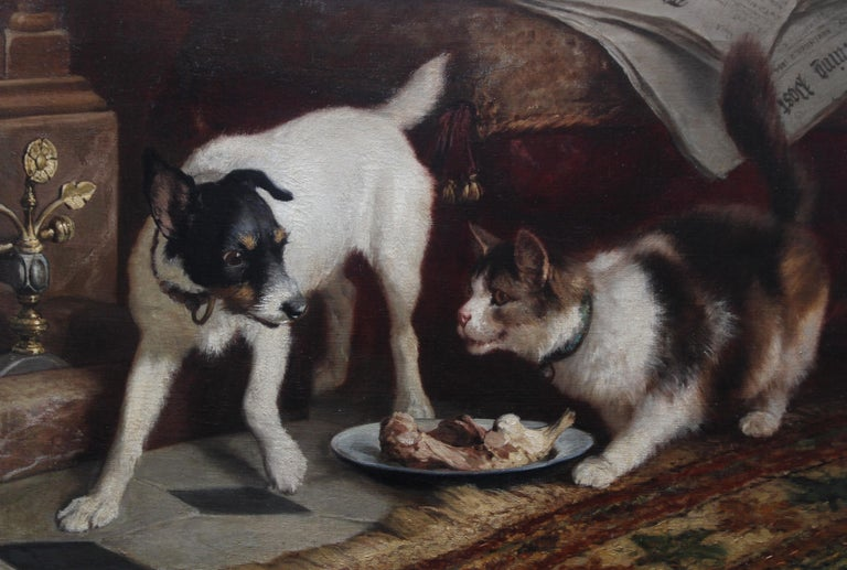 Animal Supper - Victorian 19th century dog cat animal art interior oil painting  For Sale 2