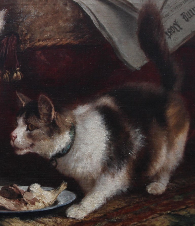 Animal Supper - Victorian 19th century dog cat animal art interior oil painting  For Sale 4