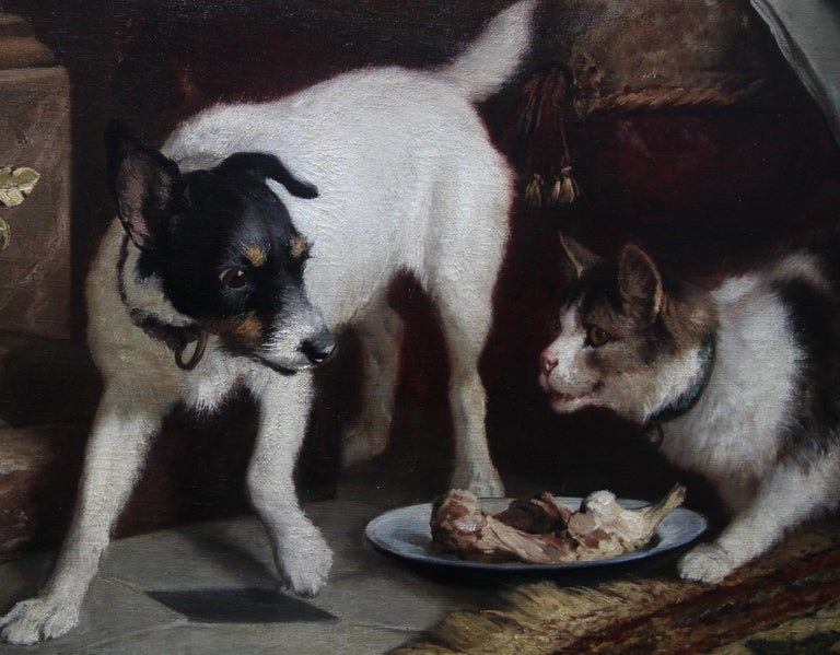 Animal Supper - Victorian 19th century dog cat animal art interior oil painting  For Sale 5
