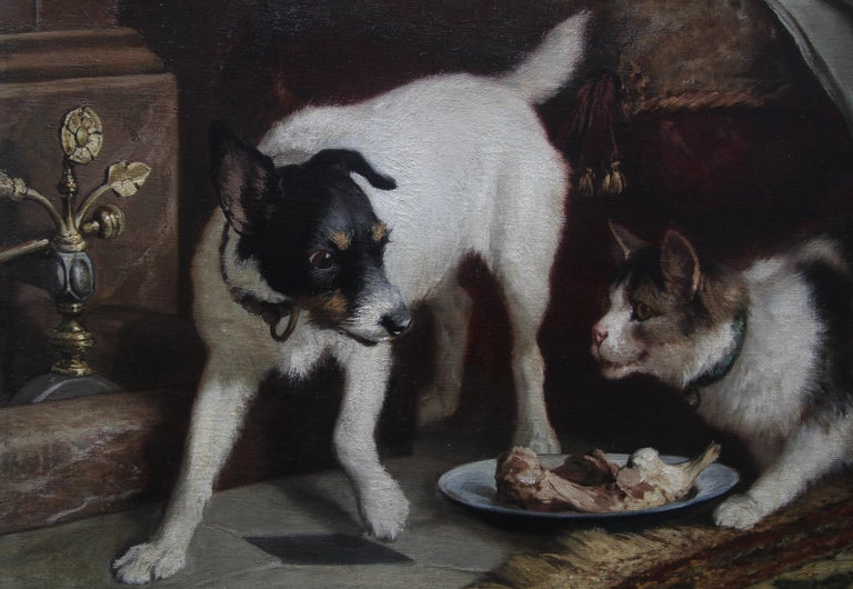Animal Supper - Victorian 19th century dog cat animal art interior oil painting  For Sale 6