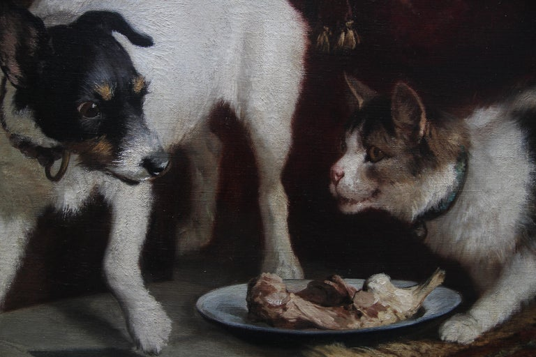 Animal Supper - Victorian 19th century dog cat animal art interior oil painting  For Sale 7