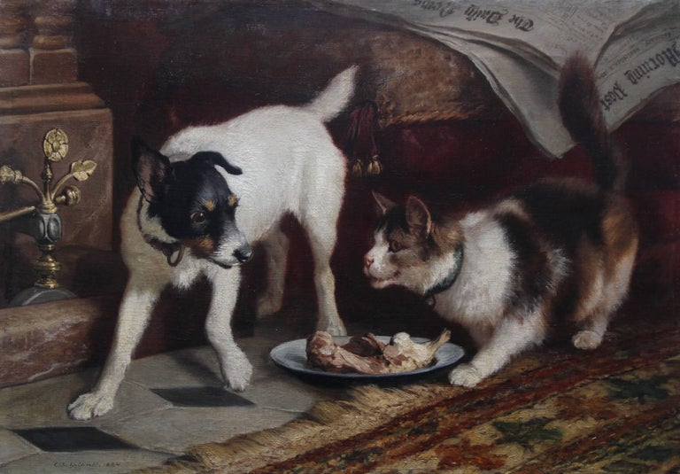 Animal's Supper Time - Victorian dog cat animal art portrait oil painting  - Painting by Carl Suhrlandt