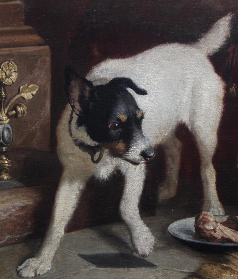A fine oil on canvas by noted listed artist Carl Suhrlandt which dates to 1884 and depicts a portrait genre scene of a dog and a cat in competition for the spoils. It is a stunning large and very well painted oil on canvas and a fine example of his