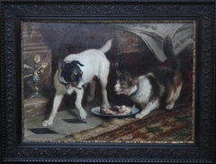 Animal's Supper Time, Victorian Dog Cat Animal Art Portrait Oil Painting