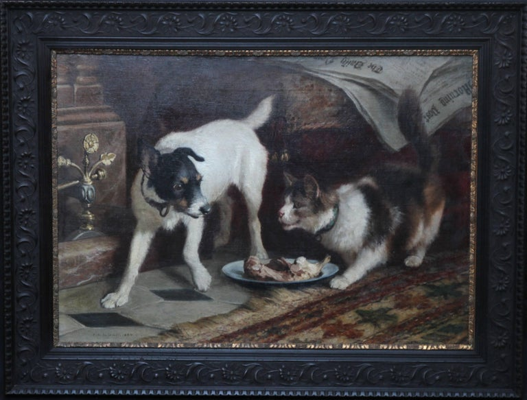 Carl Suhrlandt Interior Painting - Animal's Supper Time - Victorian dog cat animal art portrait oil painting