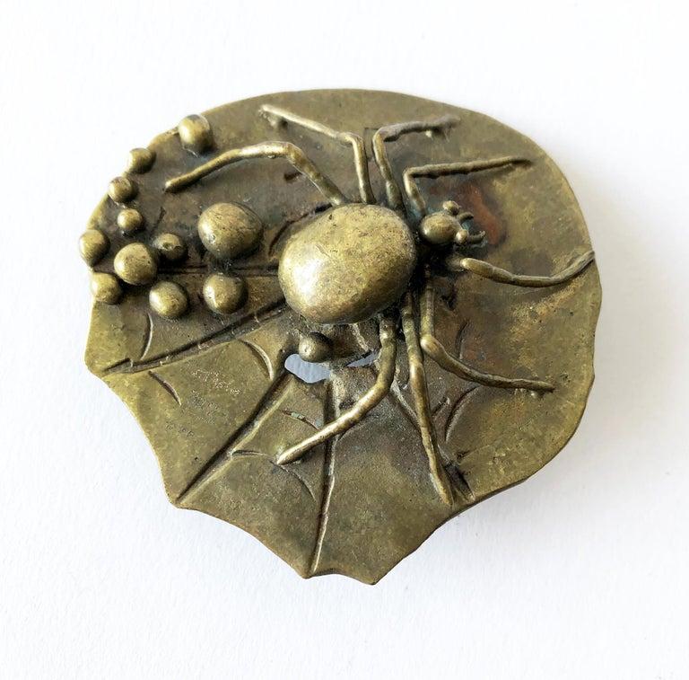 Tarantula spider belt buckle created by sculptor Carl Tasha, circa 1970's.  Buckle will fit a 2