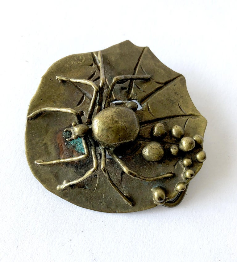Carl Tasha Bronze Tarantula Spider Belt Buckle In Good Condition For Sale In Los Angeles, CA