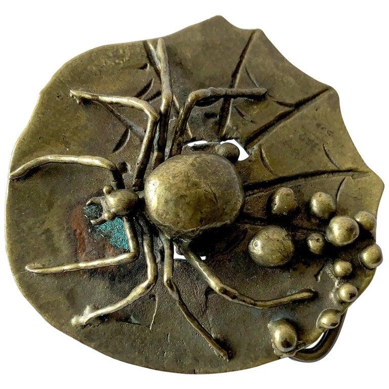 Carl Tasha Bronze Tarantula Spider Belt Buckle For Sale
