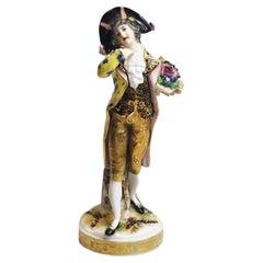 Carl Thieme Dresden Porcelain Figurine of Noble Gentleman in Love, ca. 1870's