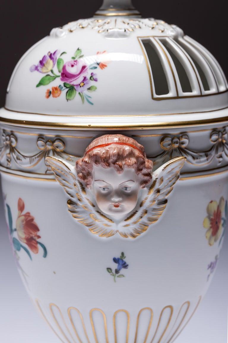 Hand-Painted Carl Thieme Dresden Pot Pourri Vase Mithological Head Handles Urn Porcelain For Sale