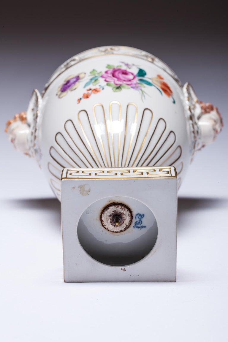 Carl Thieme Dresden Pot Pourri Vase Mithological Head Handles Urn Porcelain For Sale 1