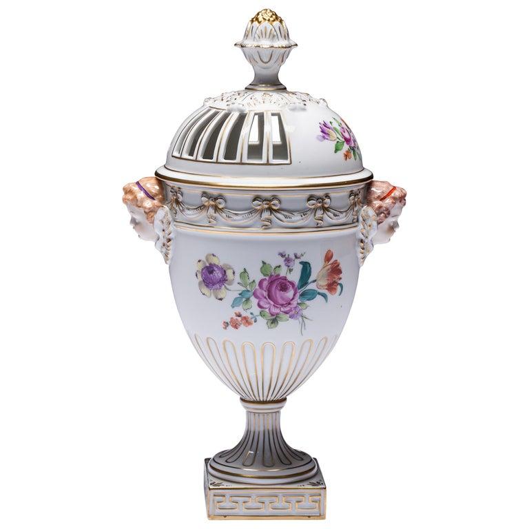 Carl Thieme Dresden Pot Pourri Vase Mithological Head Handles Urn Porcelain For Sale
