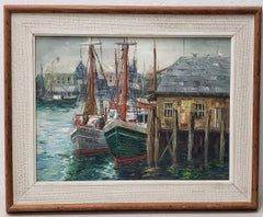 "Carl Thorp ""New England Harbor"" Original Oil Painting, circa 1966"
