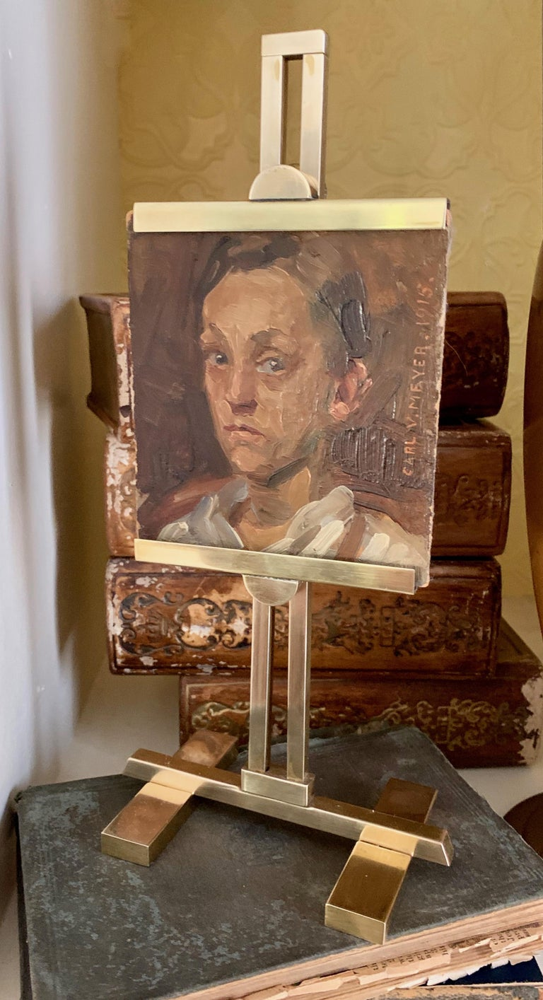 A painting of a boy by Carl Vilhelm Meyer on Board and displayed in a miniature brass desk easel a wonderful addition to any shelf or desk and a great conversation piece. Meyer is an important and listed artist.