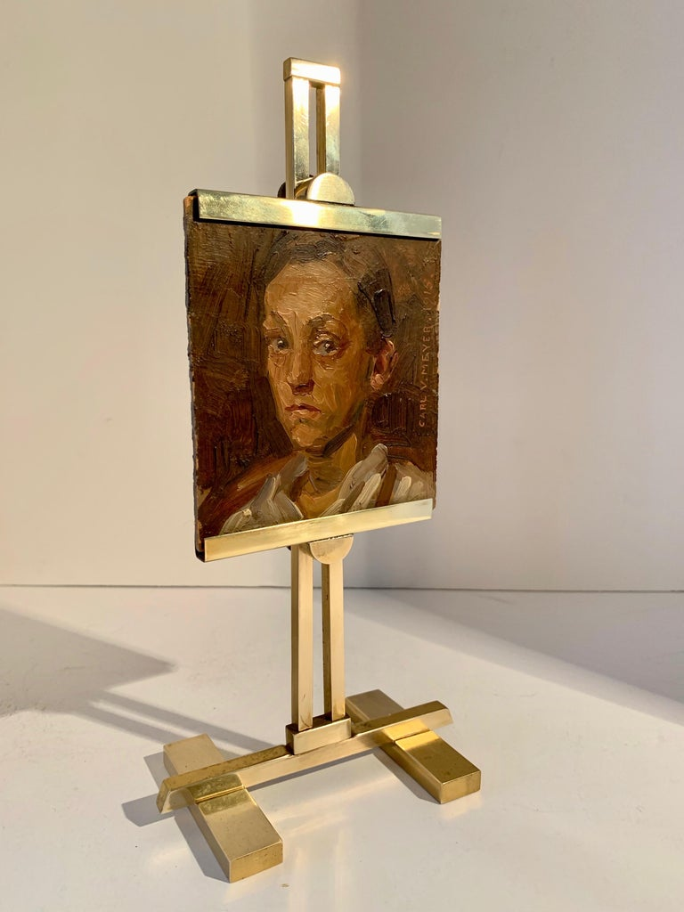 Carl V. Meyer Original Painting on Miniature Brass Desk Easel In Good Condition For Sale In Los Angeles, CA