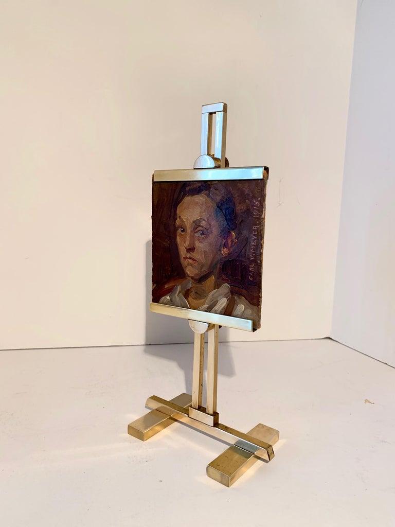 20th Century Carl V. Meyer Original Painting on Miniature Brass Desk Easel For Sale