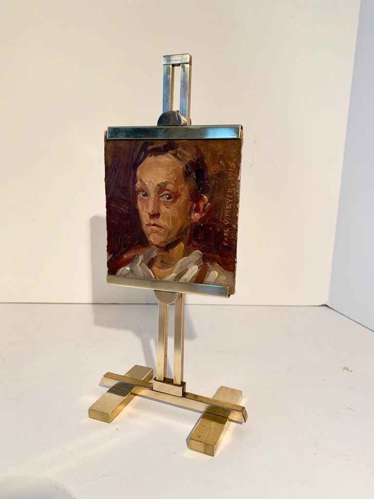 Carl V. Meyer Original Painting on Miniature Brass Desk Easel For Sale 1