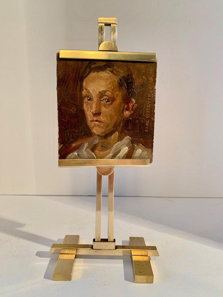 Carl V. Meyer Original Painting on Miniature Brass Desk Easel For Sale 2