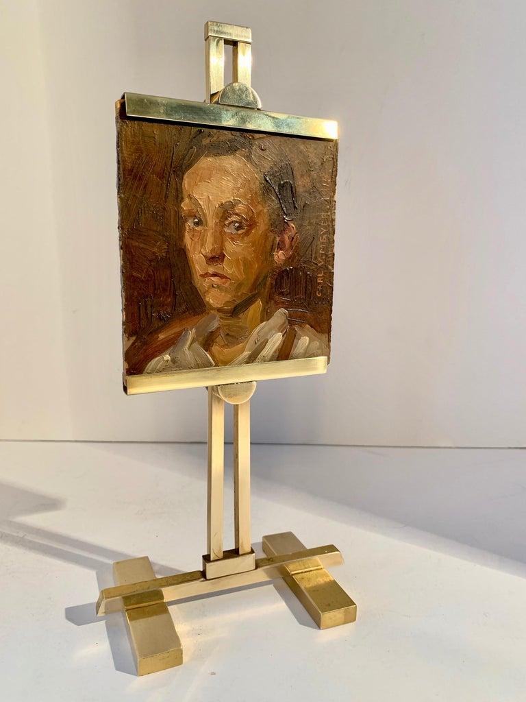 Carl V. Meyer Original Painting on Miniature Brass Desk Easel For Sale 3