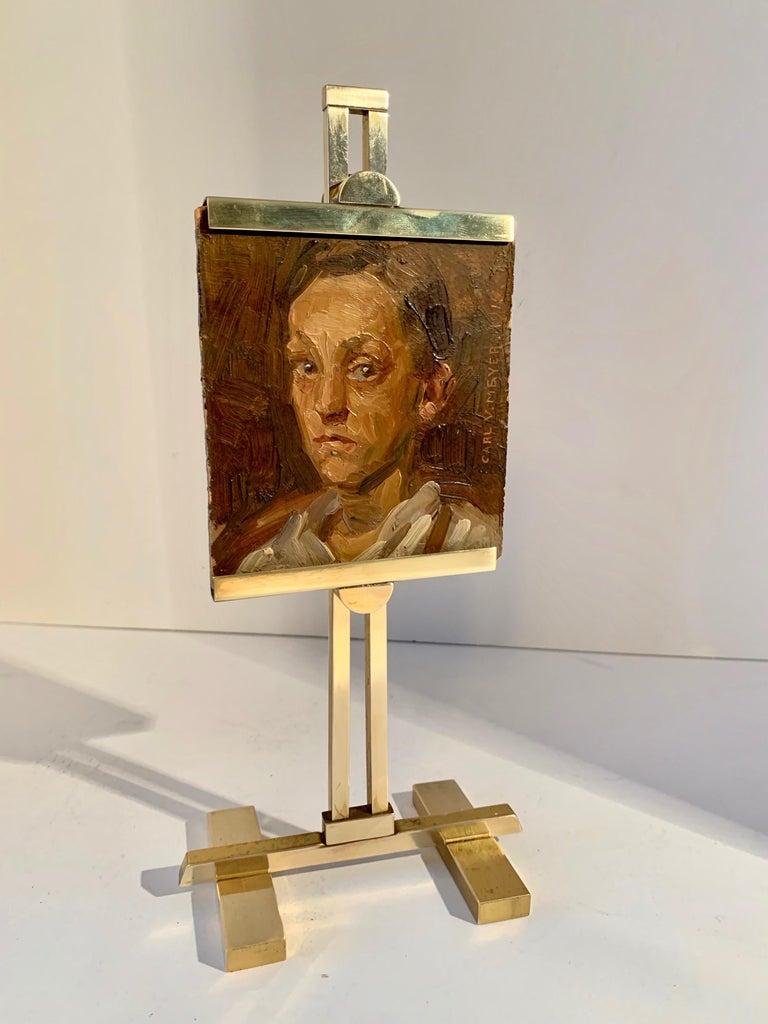 Carl V. Meyer Original Painting on Miniature Brass Desk Easel For Sale 4