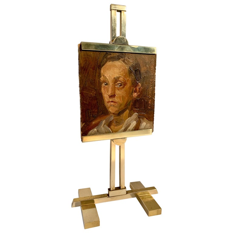 Carl V. Meyer Original Painting on Miniature Brass Desk Easel For Sale