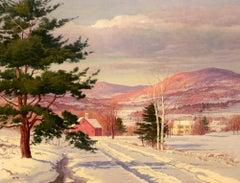 """Afternoon Light, Winter Village"" Carl Wuermer, oil, landscape, snow, ca 1930-40"
