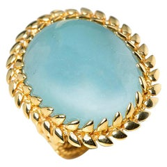 Carla Amorim 18 Karat Yellow Gold Cabochon Aquamarine Cocktail Ring