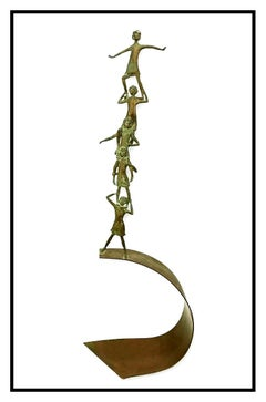 Carla Lavatelli Large Original Bronze Sculpture Signed Children The Pyramid Art