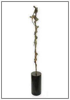 Carla Lavatelli Original Bronze Sculpture Signed Children Rope Large Full Round
