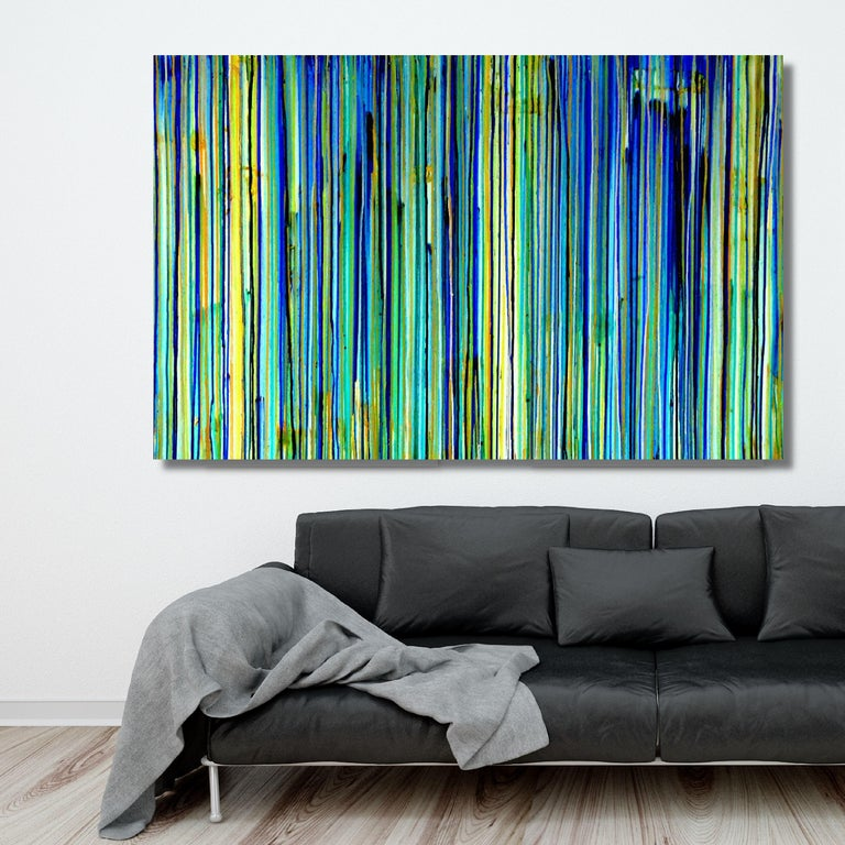 The Emotional Creation #137, Painting, Acrylic on Canvas - Blue Abstract Painting by Carla Sá Fernandes