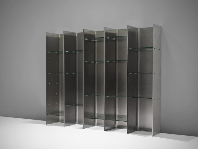 Bookcase by Carla Venosta & Guido Zimmerman for Arflex, metal, Plexiglas, Italy, 1970s  This steel bookcase with Plexiglas shelves has a clean and geometric design which is emphasized by the rawness of the materials. This particular unit consists of