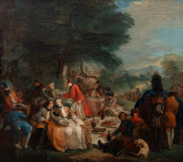 After Carle Van Loo, La halte de chasse (1737) (in english « The hunting halt »).  Large oil on canvas with a black lacquered frame with gilt molded highlights representing a lunch in the forest during a hunting halt.  The forest is painted in