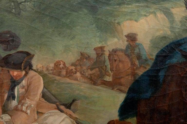 Carle Van Loo, La Halte De Chasse Oil on Canvas, 19th Century French School For Sale 1