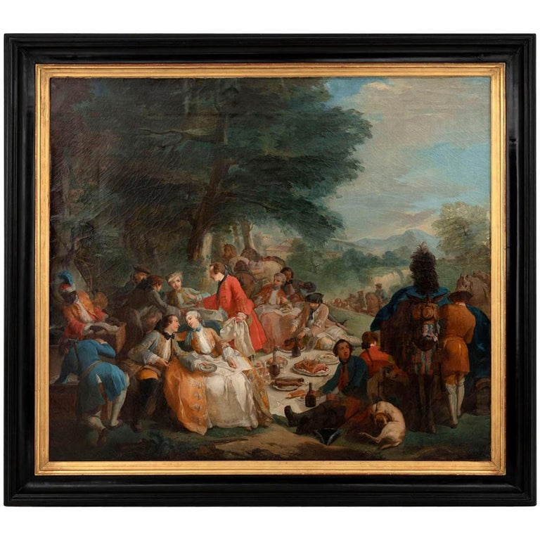 Carle Van Loo, La Halte De Chasse Oil on Canvas, 19th Century French School For Sale