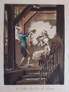 La toilette d'un Clerc de Procureur - Etching and Aquatint by C. Vernet - 1816