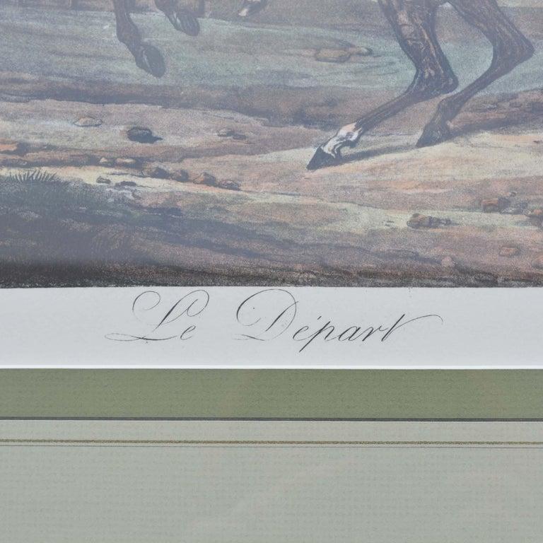 French Carle Vernet Le Depart Framed Equestrian Print For Sale