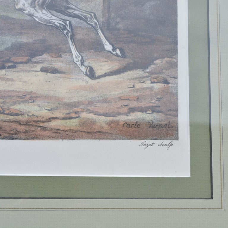 Carle Vernet Le Depart Framed Equestrian Print In Excellent Condition For Sale In Pataskala, OH