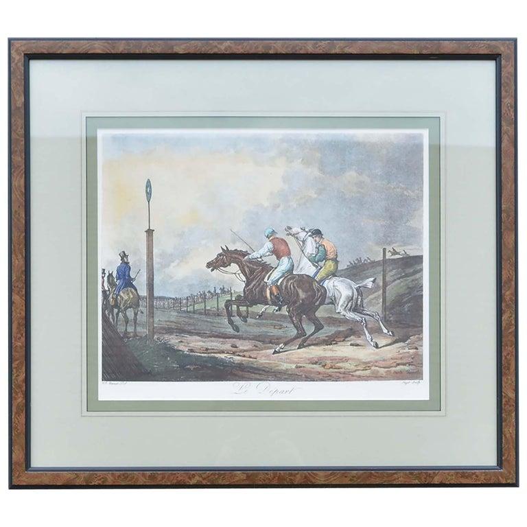 Carle Vernet Le Depart Framed Equestrian Print For Sale