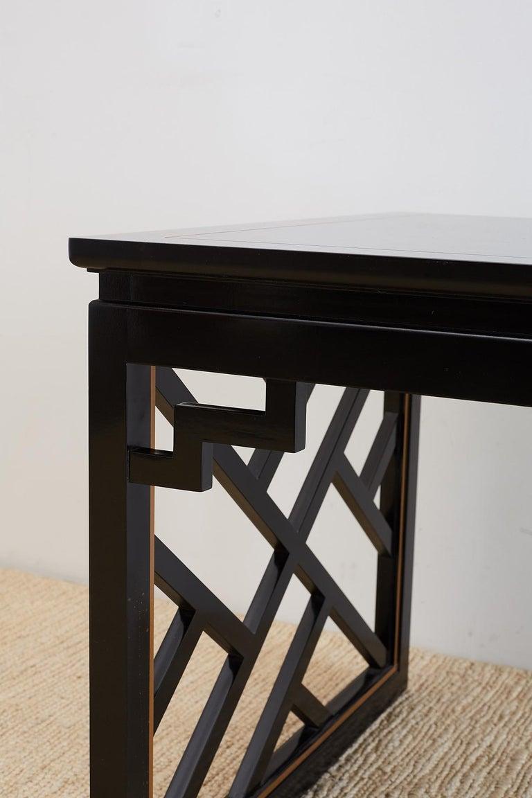 Carleton Varney for Kindel Lacquered Trellis Tables For Sale 3