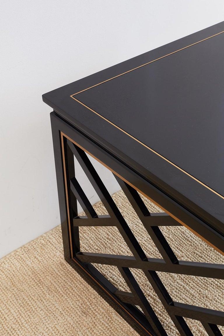 Carleton Varney for Kindel Lacquered Trellis Tables For Sale 8